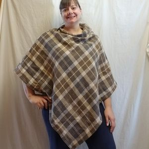 Fall Flannel Poncho with Hidden Pocket